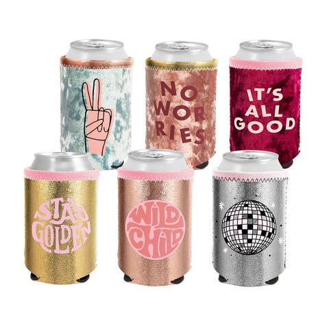 Metallic and Velvet Can Coolers