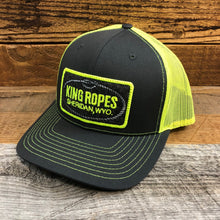 Load image into Gallery viewer, King Ropes Patch Trucker Hat - Charcoal/Neon Yellow
