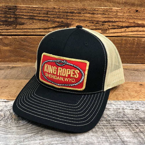 King Ropes RED Patch Trucker Hat - Black/Vegas Gold