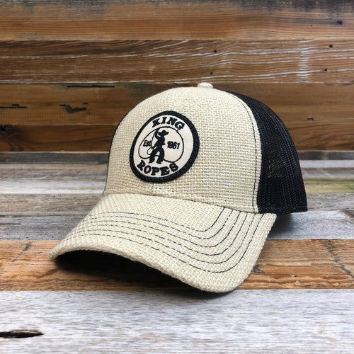 KING ROPER Patch Trucker Hat - Burlap/Black