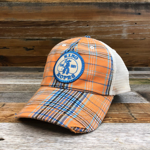 KING ROPER Patch Trucker Hat - Plaid Orange/Blue