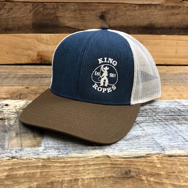 KING ROPER Trucker Hat - Heather Navy/Brown
