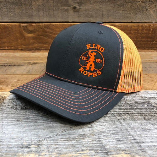 KING ROPER Trucker Hat - Charcoal/Orange