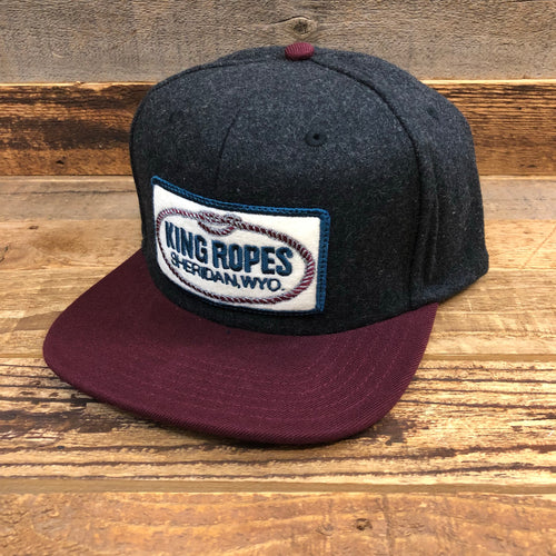 King Ropes Wool Patch Trucker Hat - Black/Wine