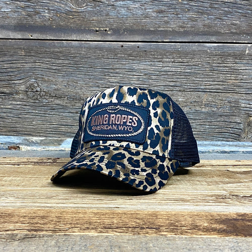 King Ropes Patch Trucker Hat - LEOPARD/BLACK