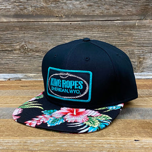 King Ropes Patch Flatbill Hat - Black/Teal Floral
