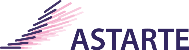 Pink and purple logo for Astarte, a group of clinically documented strains