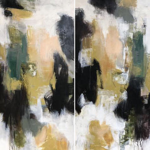 "48 x 24, mixed media on canvas, ""Allure I & II"""