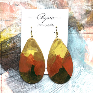 "Hand Painted Earrings ""Avocado"""