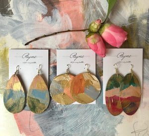 "Hand Painted Earrings ""Pink and Blue"""
