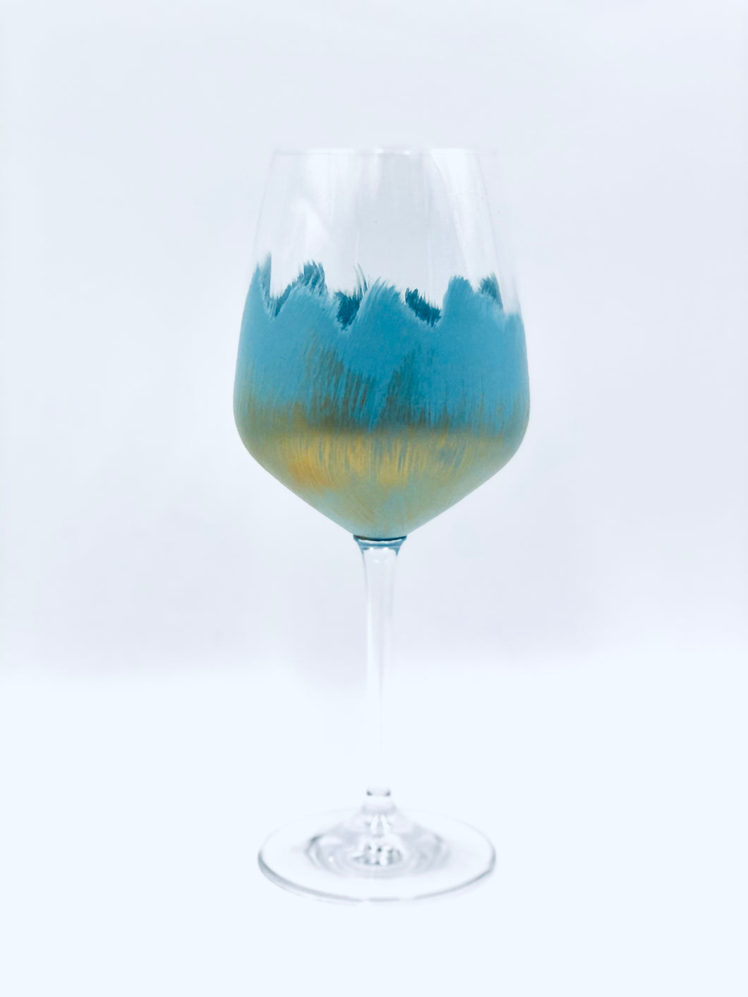 "Hand Painted Wine Glass ""Blue"""