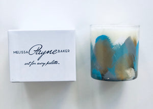 "Hand Painted Candle ""Blue"""