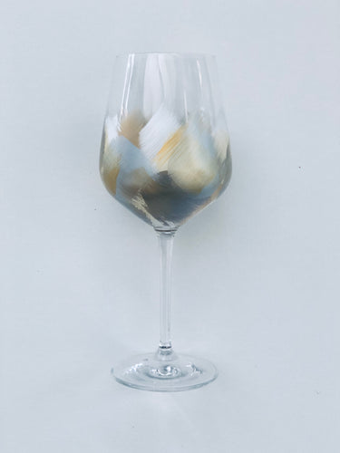 "Hand Painted Wine Glass ""Gold White"""