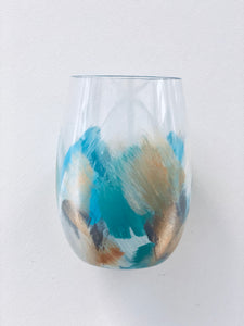 "Hand Painted Acrylic Shatterproof Stemless Glass ""Summer Blue"""