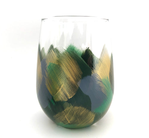 "Hand Painted Stemless Glass ""Green"""