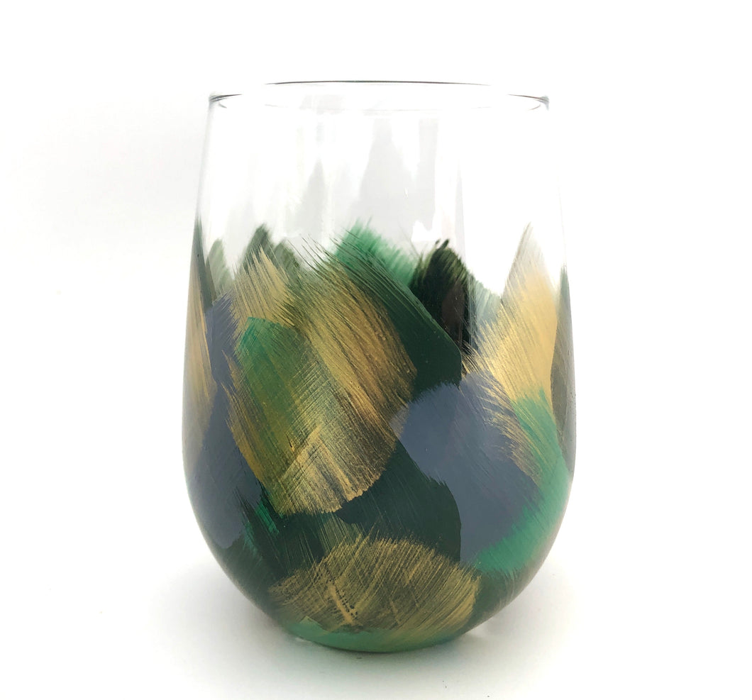 "Hand Painted Stemless Glass ""Artsy Moss"""