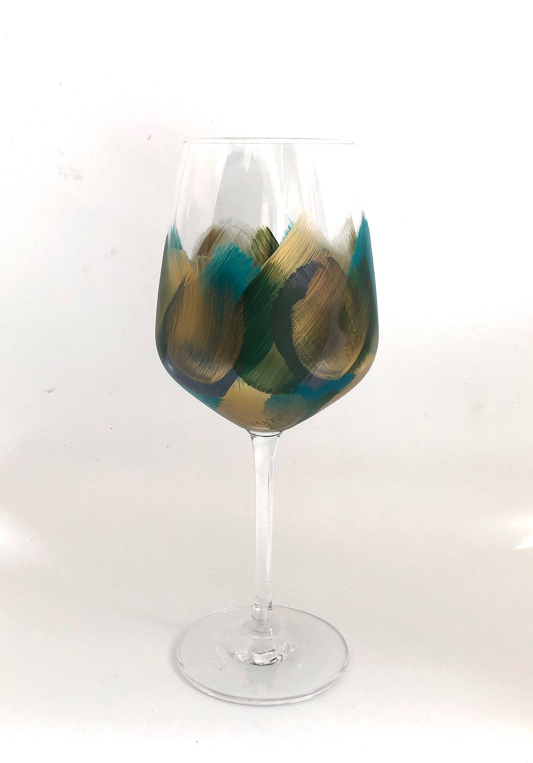 "Hand Painted Wine Glass ""Green"""