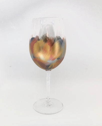 "Hand Painted Wine Glass ""Bronze"""