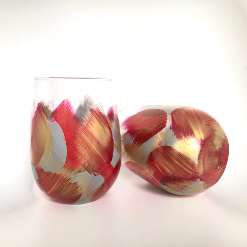 "Hand Painted Stemless Glass ""Red"""