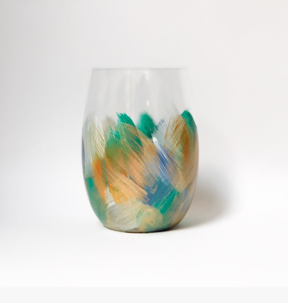 Hand Painted Shatterproof Stemless Acrylic Glass