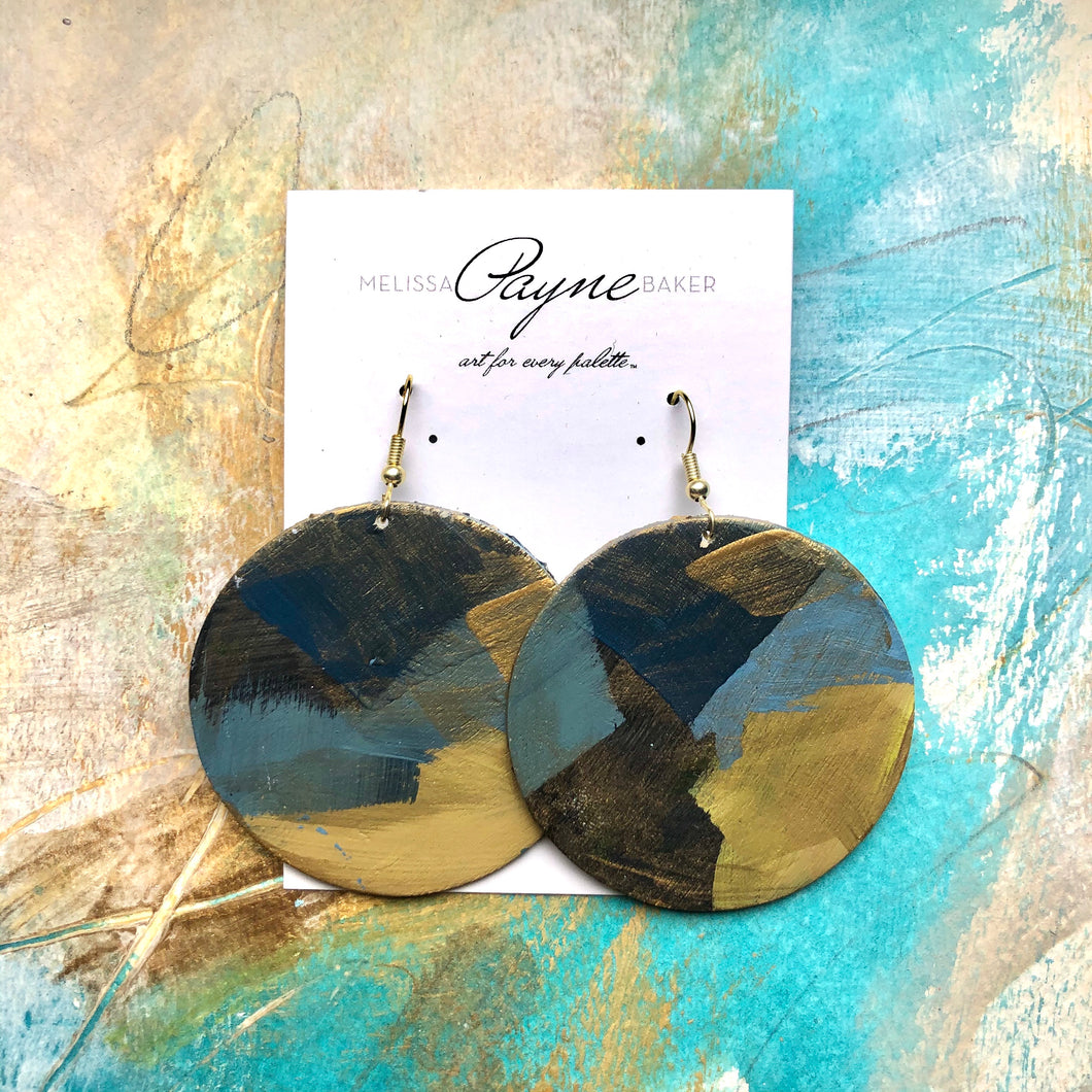 "Hand Painted Earrings ""Golden Girl"""