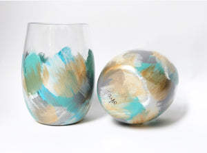 "Hand Painted Shatterproof Stemless Acrylic Glass ""Blue"""