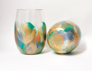 "Hand Painted Shatterproof Stemless Acrylic Glass ""Green"""