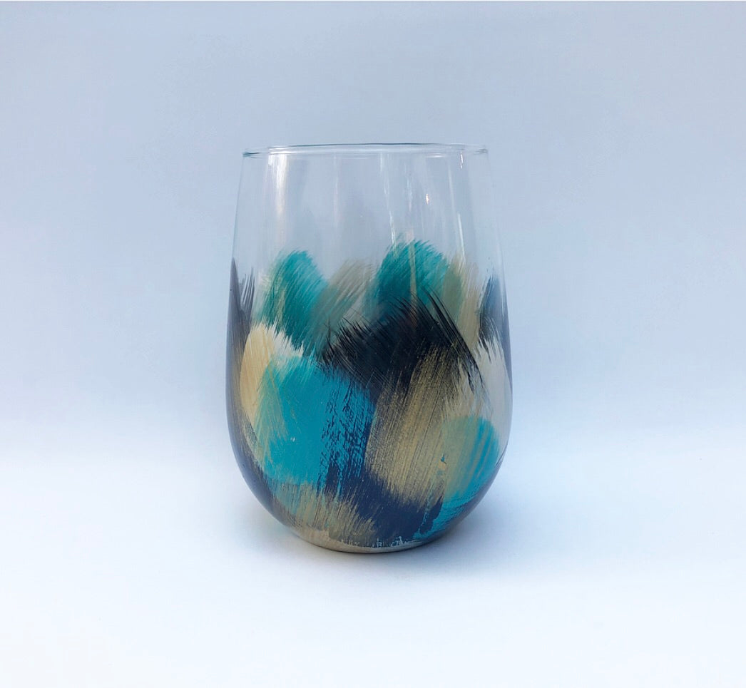 "Hand Painted Stemless Wine Glass ""Navy Turquoise"""