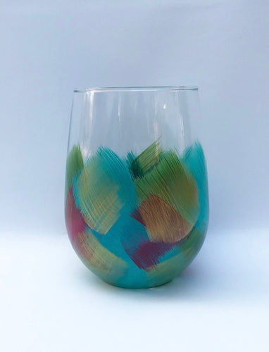 "Hand Painted Stemless Glass ""Holiday"""