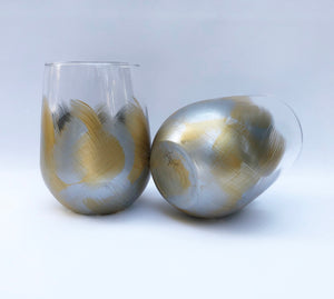 "Hand Painted Stemless Glass ""Gold Silver"""