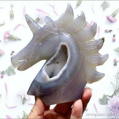 Hand Carved Agate Geode Unicorn