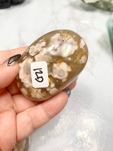 Flower Agate Palm Stone