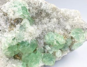 Self Standing XL Fujian Province Sea Foam Green Fluorite on Quartz Matrix