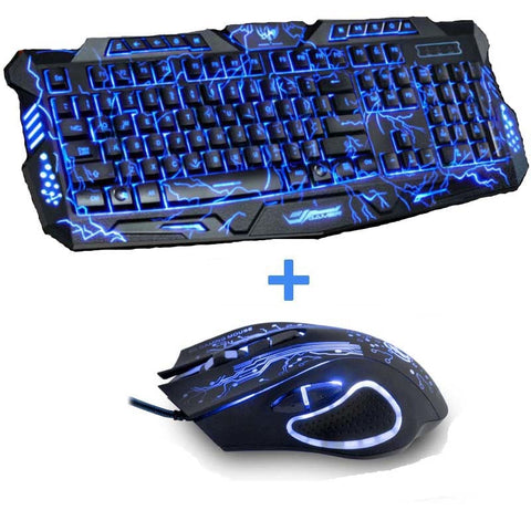 Tri-Color Backlit Computer Gaming Keyboard + Gaming Mouse
