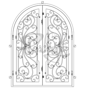 double full arch big iron door with glass