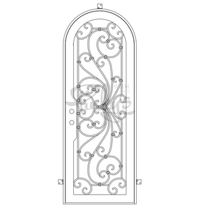 single full arch scroll design wrought iron door