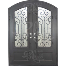 Load image into Gallery viewer, Arch Top Wrought Iron Front Double Door with Glass