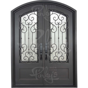 Arch Top Wrought Iron Front Double Door with Glass