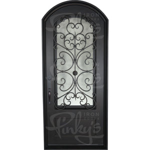 Night - Single ArchIron Doors - Pinky's Iron Doors