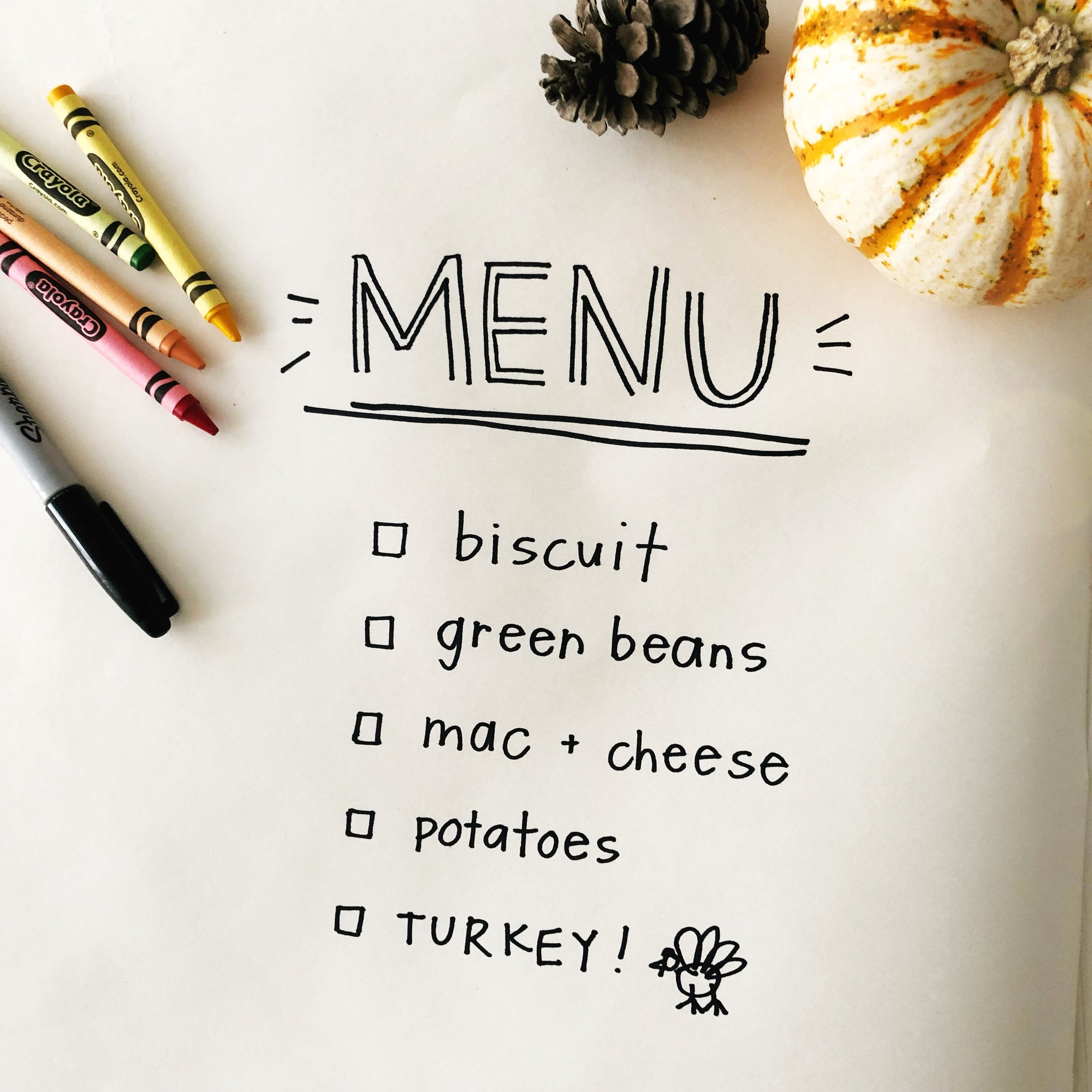 Using an interactive checklist for the kids table at thanksgiving