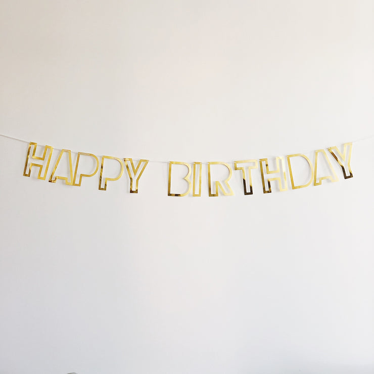 Happy Birthday Party Garland -  Gold Mirror