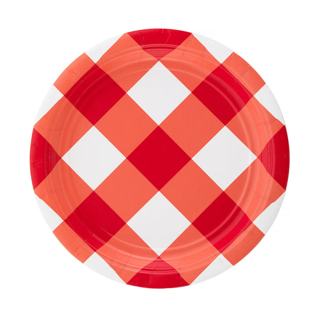 "7"" Red Gingham Cake Plate"