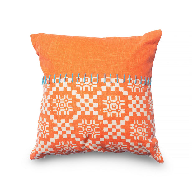 Decorative Throw Pillow - Square Boho Orange