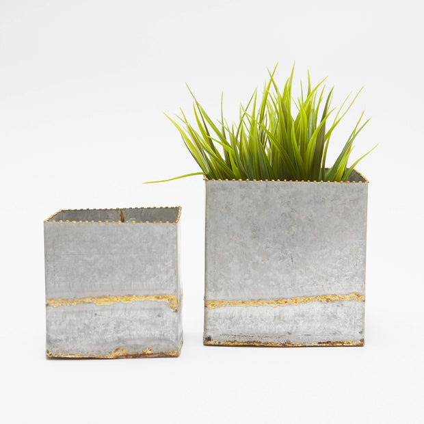 Sq Galvanized Metal Planters Set of 2