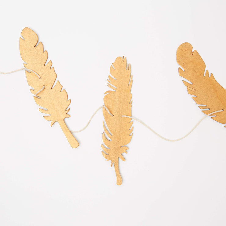 Decorative Garland - Paper Feather, Set of 2 Silver/Gold