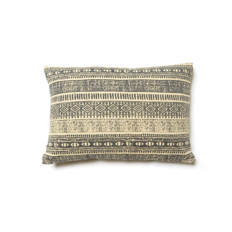 Cotton Textured Pillow w/ Print, Natural & Blue