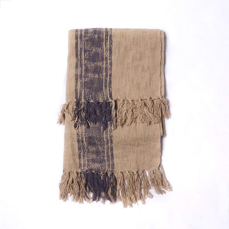 Cotton Throw W/ Stripes & Fringe
