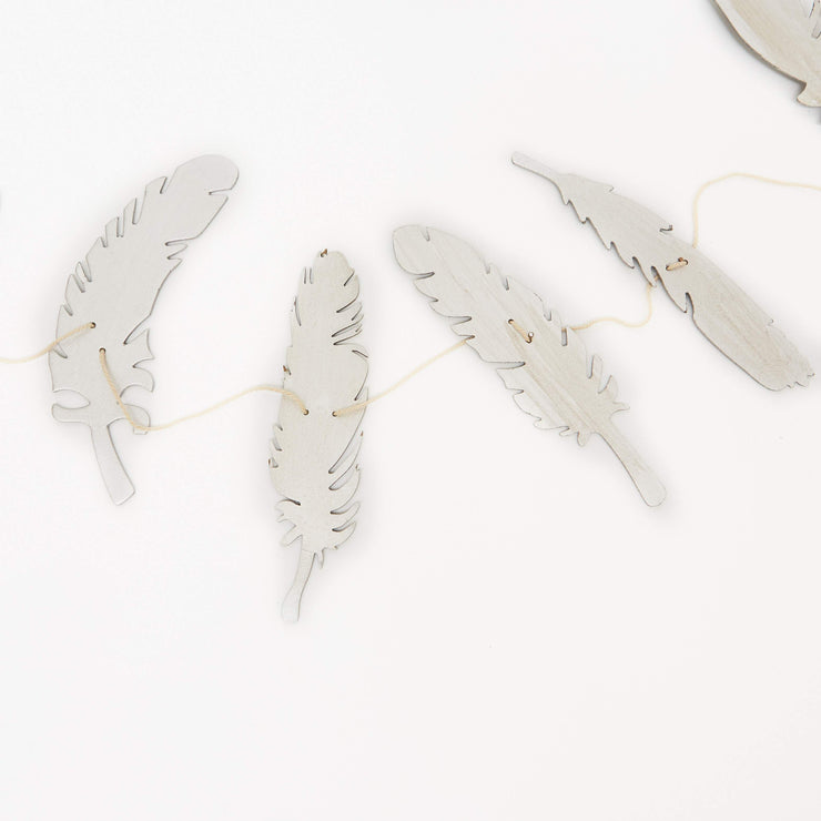 Paper Feather Garland, Set of 2 Silver/Gold