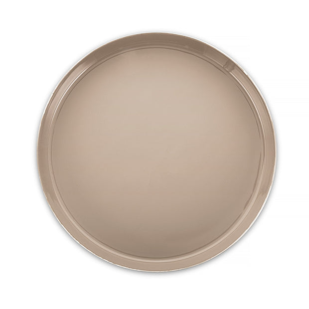 Decor - Round Tray - Gold Taupe Aluminum