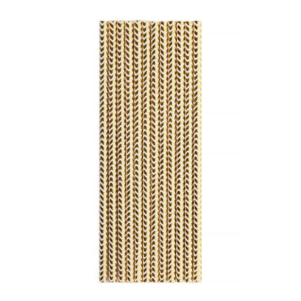 Party Paper Straw Gold Chevron